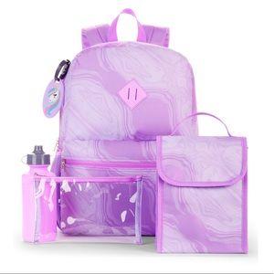Handbags - school 5 piece backpack / lunch bag purple marble